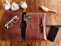 Na tablet - Kožený obal na tablet, diár alebo vizitky a perá - 10249328_