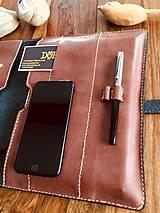Na tablet - Kožený obal na tablet, diár alebo vizitky a perá - 10249329_