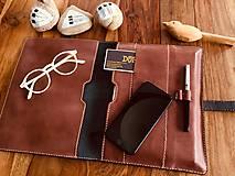Na tablet - Kožený obal na tablet, diár alebo vizitky a perá - 10249330_