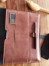 Na notebook - Kožený obal na MacBook Air 13, dokumenty veľkosti A4, vizitky a perá - 10249380_