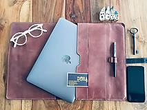 Na notebook - Kožený obal na MacBook Air 13, dokumenty veľkosti A4, vizitky a perá - 10249381_