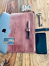 Na notebook - Kožený obal na MacBook Air 13, dokumenty veľkosti A4, vizitky a perá - 10249382_
