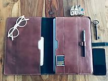Na notebook - Kožený obal na MacBook Air 13, dokumenty veľkosti A4, vizitky a perá - 10249383_