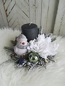 Dekorácie - Vianočná dekorácia s vtáčikom - 10248481_