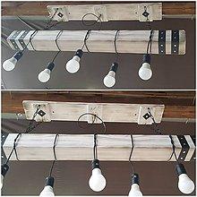 Svietidlá a sviečky - Dreveny biely luster hranol 5 - 10246961_
