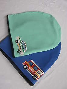Detské čiapky - Zimná čiapka s hasičským autom - 10247169_