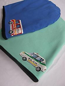 Detské čiapky - Zimná čiapka s policajným autom - 10247196_