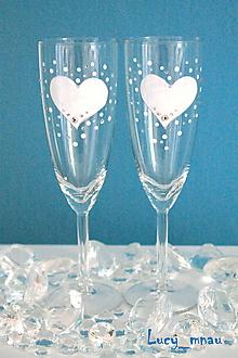Darčeky pre svadobčanov - Svadobné poháre ♥srdiečkové♥ - 10248265_