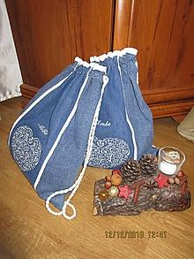 Batohy - Batohy z recyklovanej rifľoviny s menom a výšivkou - 10248245_
