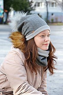 Čiapky - Zimný set Vrkoče sivá tmavá Obojstranný s Odopínacím brmbolcom - 10247176_