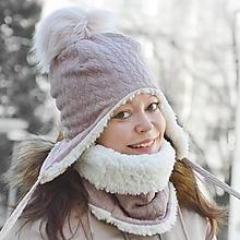 Čiapky - Zimný set Vrkoče Old Violet & fleece cream - 10249595_