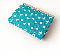 Peňaženky - Peňaženka s priehradkami  Tyrkysová geometrický vzor - 10247074_