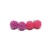 Náušnice - #bobuledousi duo pink napichovacie náušnice - 10247056_