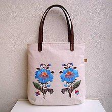 Veľké tašky - Ľanová taška na veľ. A4/ tyrkysovohnedé kvety - 10248350_