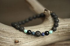 Šperky - Pánsky náramok z minerálu láva, lapis lazuli, tyrkenit, onyx - 10247585_