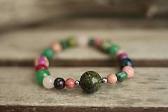 Náramky - Boho náramok z minerálov jaspis, rodonit, amazonit, jadeit - 10248720_