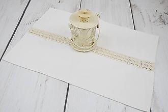 Úžitkový textil - Ľanový smotanový obrúsok 63*45cm - 10250770_