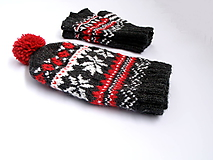 Čiapky - Čiernosivá čiapka ku rukaviciam - 10251935_