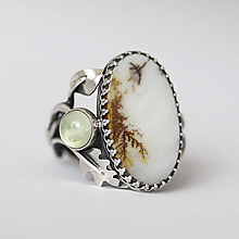 Prstene - Strieborný prsteň s dendritickým achátom a prehnitom - V hmle - 10251893_