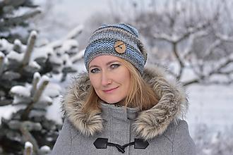 Čiapky - Zľava z 16 na 11 eur-Modrošedá pletená čiapka - 10251934_