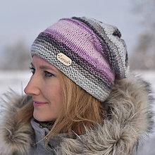 Čiapky - Zľava zo 16 na 12 eur-Podšitá fialovo-šedá čiapka - 10252006_