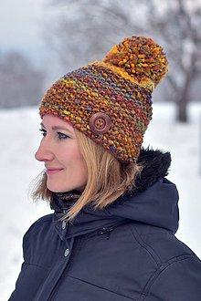 Čiapky - Zľava z 24 na 20 eur-Oranžovo-hnedá čiapka - 10252114_