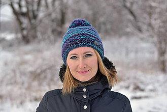 Čiapky - Zľava z 24 na 20 eur -Tyrkysovo-fialová čiapka - 10252141_