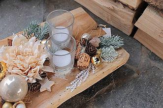 Svietidlá a sviečky - adventný veniec _ béžové na teakovom dreve - 10252290_