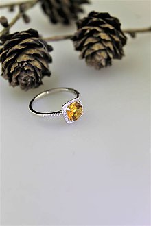 Prstene - citrín prsteň striebro - 10251394_