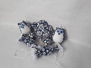 Dekorácie - Šité vianočné ozdoby - set (Modrá) - 10250191_