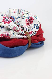 Šály - Štýlový kvetinový trojfarebný nákrčník z ľanu a bavlny
