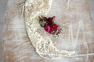 Ozdoby do vlasov - Kvetinový hrebienok ,,červený,, - 10250214_