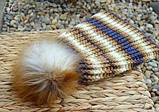 Čiapky - *Háčkovaná čiapka s kožušinovým brmbolcom* - 10250713_