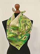 Šatky - Maľovaná zelená... - 10250210_
