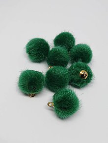 Polotovary - Bambuľky - pár (Zelená) - 10251423_
