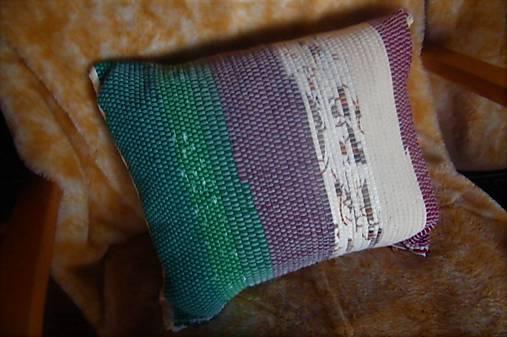 Tkaná obliečka na vankúš zeleno-maslovo-hnedá