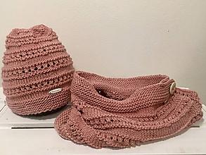 Čiapky - Ružová súprava z merino vlny - 10253988_