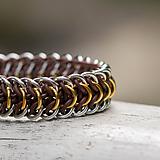 Náramky - Pásovec v barvách tří kovů - pružný náramok - 10253328_