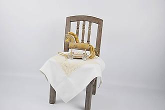 Úžitkový textil - Ľanový smotanový obrúsok 40*40cm - 10253064_