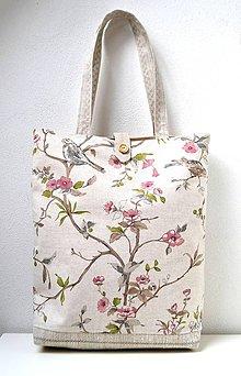 Veľké tašky - Plátená taška so zapínaním na gombík - 10252747_