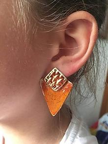 Náušnice - oranžová so zlatou - 10253378_