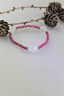 Náramky - rubín s krištálom náramok luxusný - 10253961_