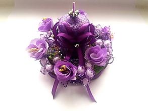 Dekorácie - Dekoračná sviečka - fialová - 10253572_