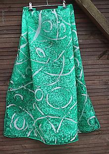 Šatky - silk scarf_hodvábna šatka_green_zelená - 10253256_