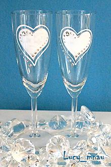 Darčeky pre svadobčanov - Svadobné poháre ♥srdiečkové♥ - 10253890_
