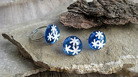 Sady šperkov - Modrá sada so snehovými vločkami - chirurgická oceľ, č. 2527 - 10253231_