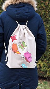 Batohy - Ručne maľovaný batoh z režnej bavlny- motýle - 10253433_