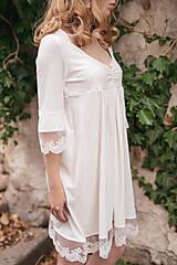 Pyžamy a župany - Dámska nočná košeľa s krajkou z organickej bavlny (XL biela) - 10254118_