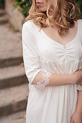 Pyžamy a župany - Dámska nočná košeľa s krajkou z organickej bavlny (XL biela) - 10254119_