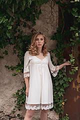 Pyžamy a župany - Dámska nočná košeľa s krajkou z organickej bavlny (XL biela) - 10254139_